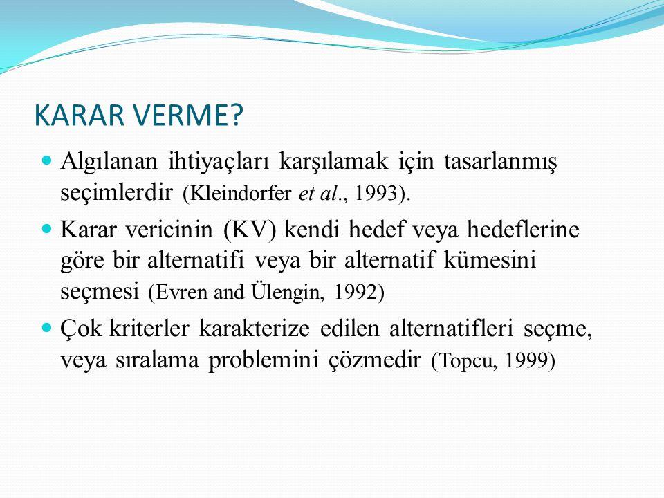 KARAR VERME Algılanan ihtiyaçları karşılamak için tasarlanmış seçimlerdir (Kleindorfer et al., 1993).