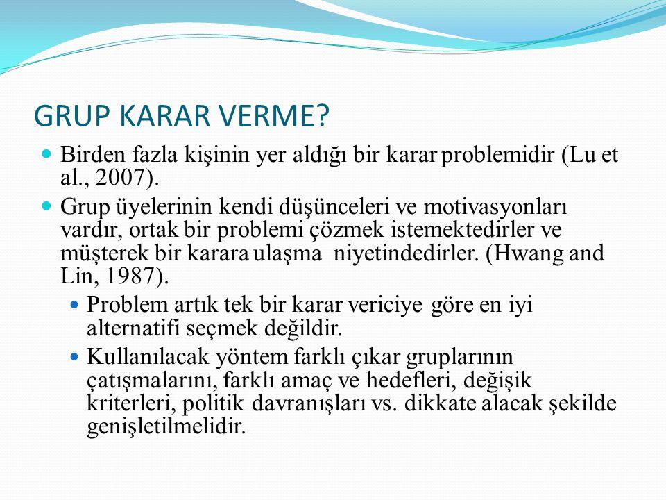 GRUP KARAR VERME Birden fazla kişinin yer aldığı bir karar problemidir (Lu et al., 2007).