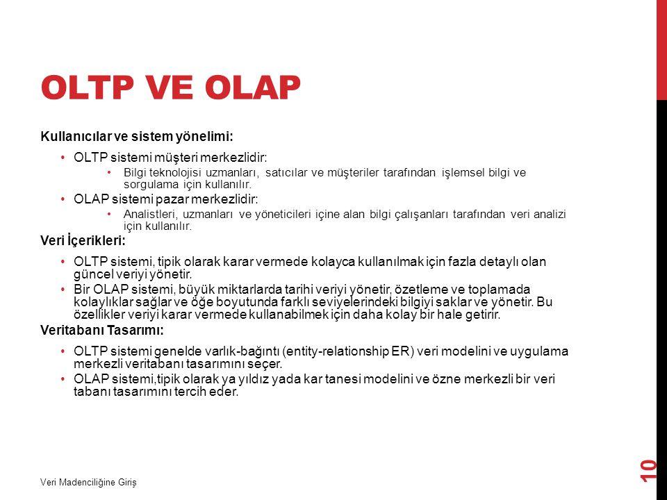 OLTP ve OLAP Kullanıcılar ve sistem yönelimi: