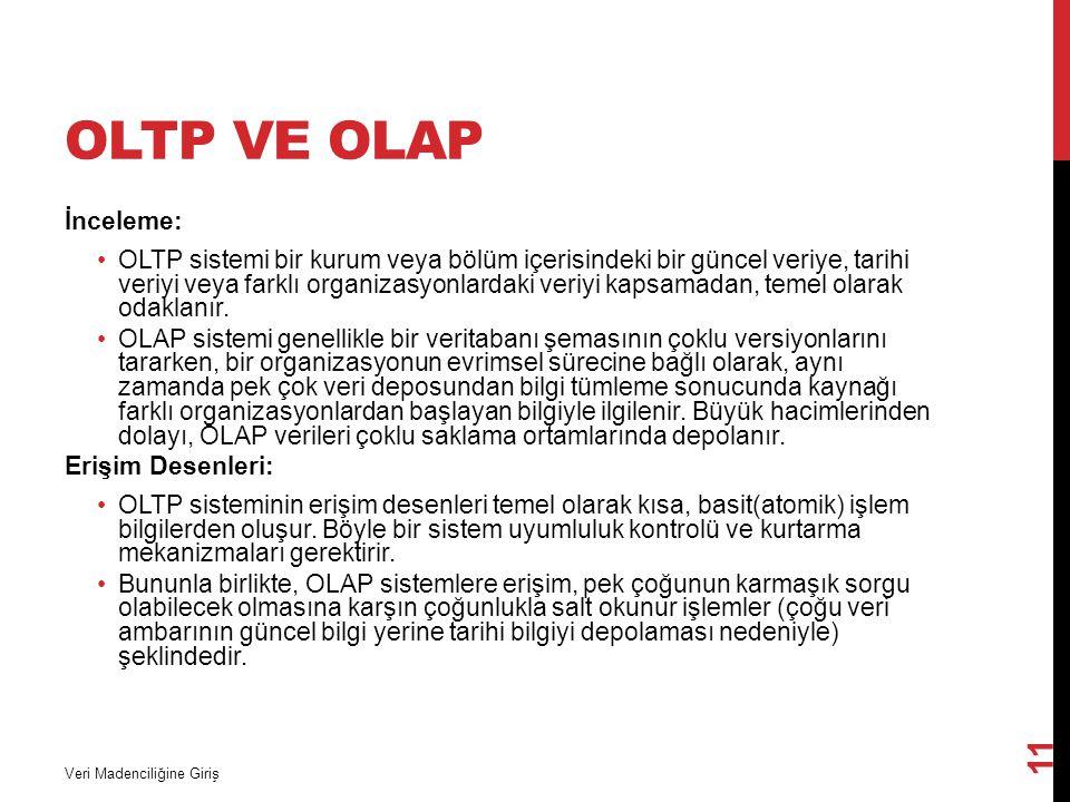 OLTP ve OLAP İnceleme: