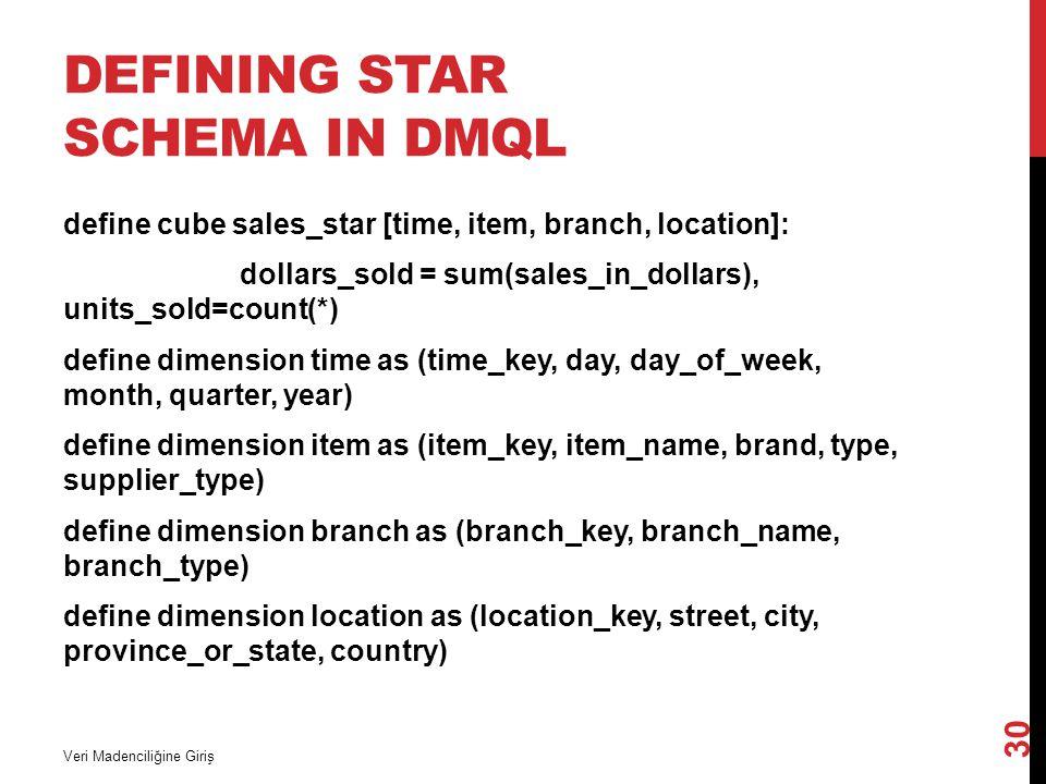 Defining Star Schema in DMQL