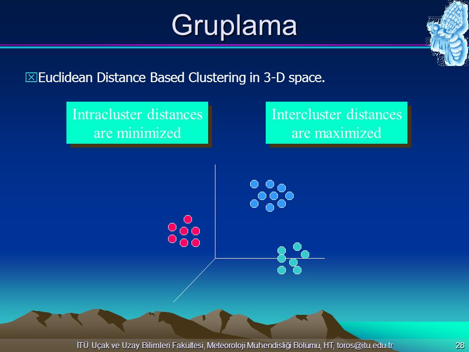Gruplama Intracluster distances are minimized Intercluster distances