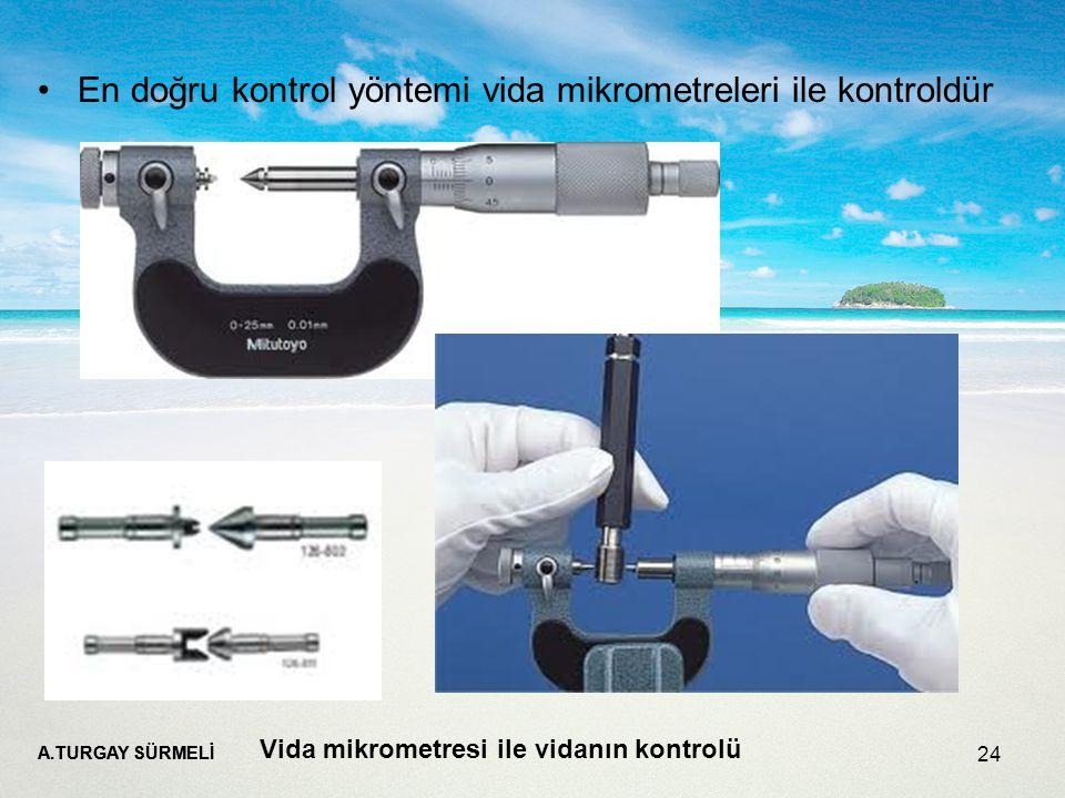 En doğru kontrol yöntemi vida mikrometreleri ile kontroldür