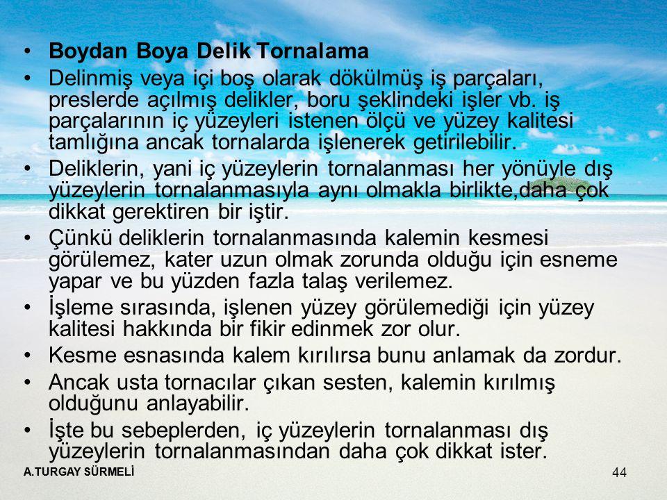 Boydan Boya Delik Tornalama