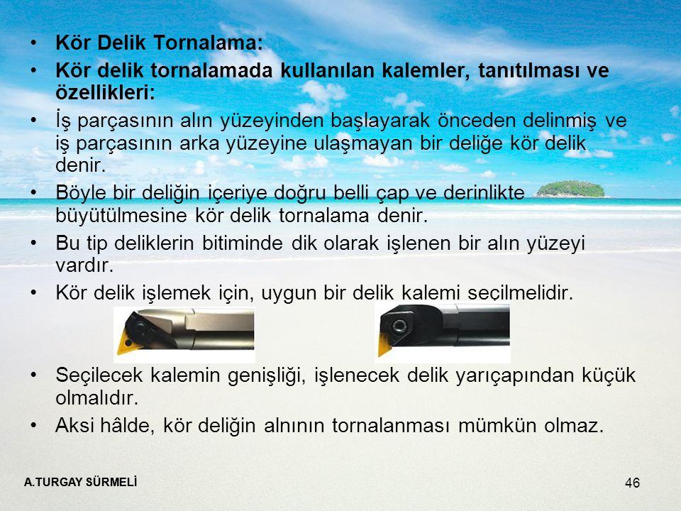 Kör delik tornalamada kullanılan kalemler, tanıtılması ve özellikleri:
