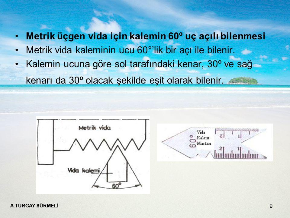Metrik üçgen vida için kalemin 60º uç açılı bilenmesi