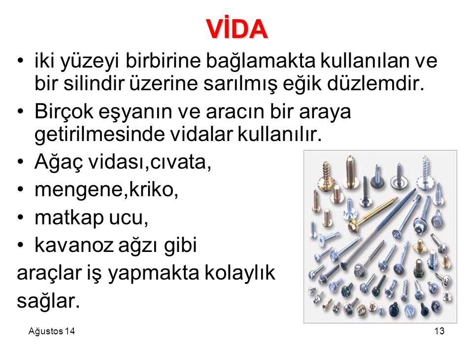 VİDA iki yüzeyi birbirine bağlamakta kullanılan ve bir silindir üzerine sarılmış eğik düzlemdir.
