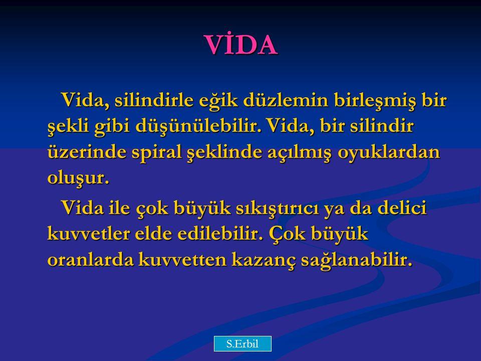 VİDA Vida, silindirle eğik düzlemin birleşmiş bir şekli gibi düşünülebilir. Vida, bir silindir üzerinde spiral şeklinde açılmış oyuklardan oluşur.
