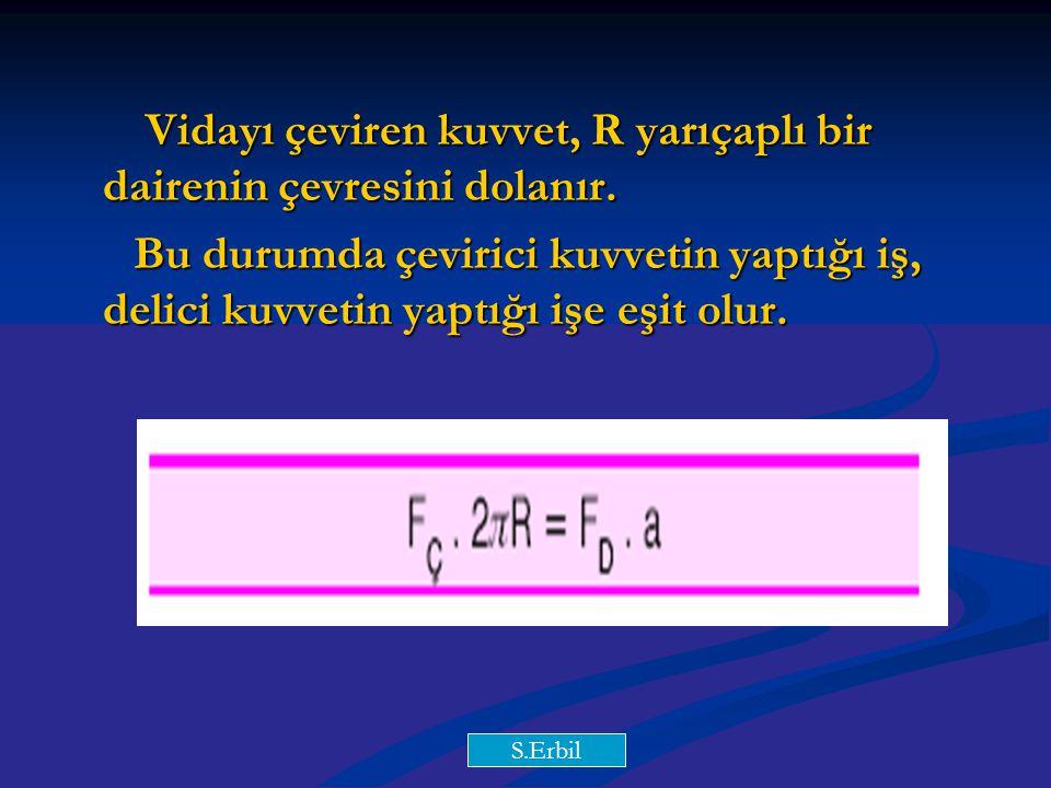 Vidayı çeviren kuvvet, R yarıçaplı bir dairenin çevresini dolanır.