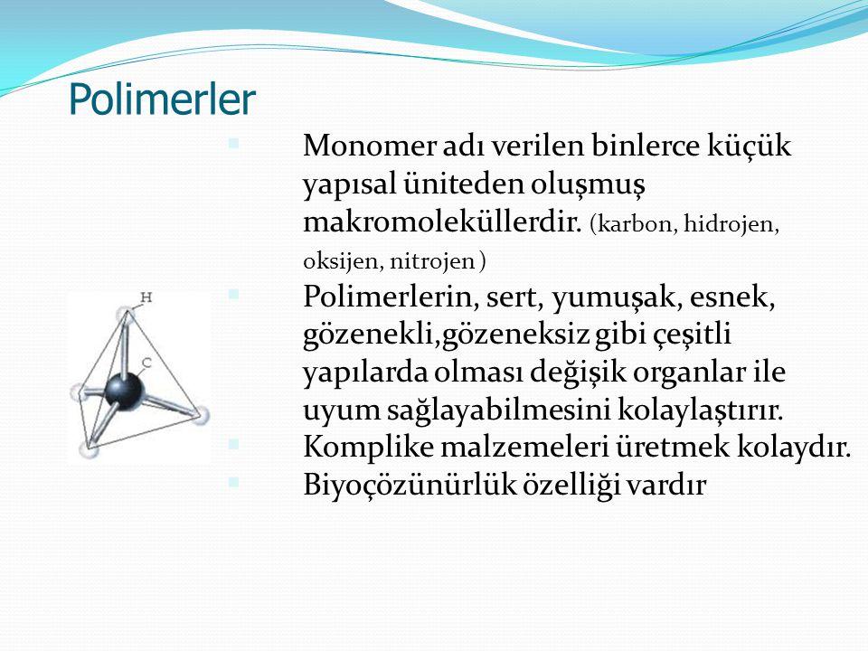 Polimerler Monomer adı verilen binlerce küçük yapısal üniteden oluşmuş makromoleküllerdir. (karbon, hidrojen, oksijen, nitrojen )