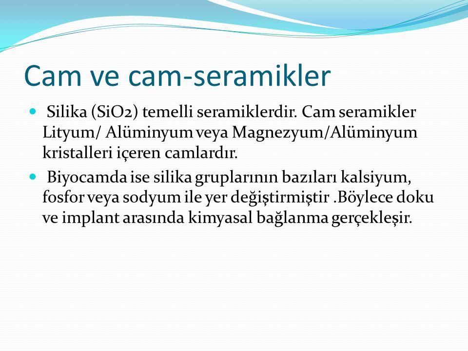 Cam ve cam-seramikler Silika (SiO2) temelli seramiklerdir. Cam seramikler Lityum/ Alüminyum veya Magnezyum/Alüminyum kristalleri içeren camlardır.