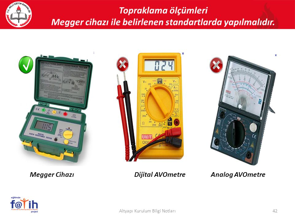 Megger cihazı ile belirlenen standartlarda yapılmalıdır.