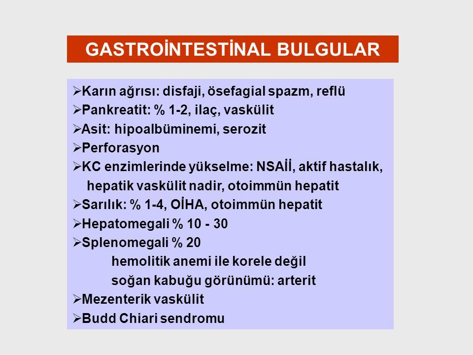 GASTROİNTESTİNAL BULGULAR