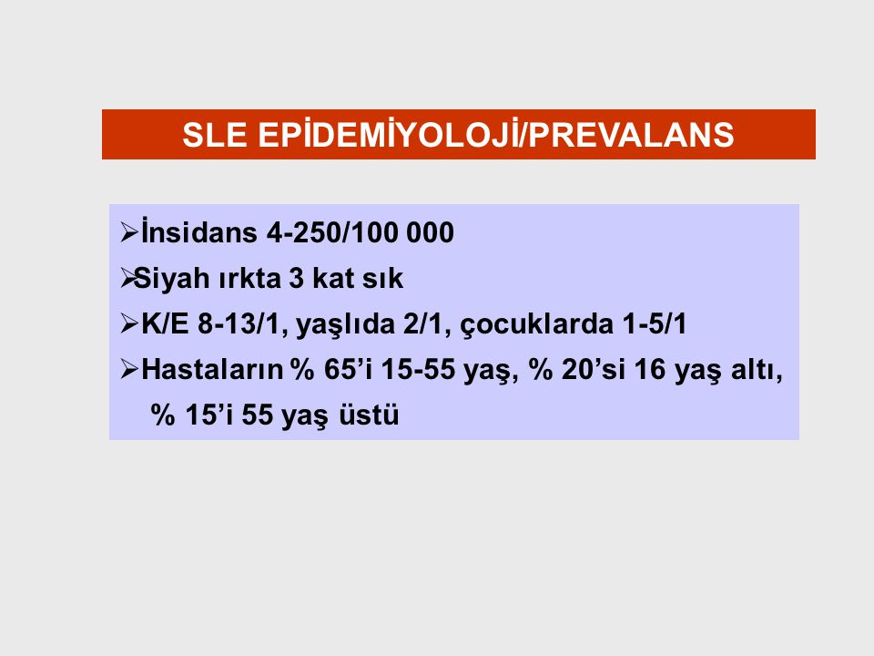 SLE EPİDEMİYOLOJİ/PREVALANS