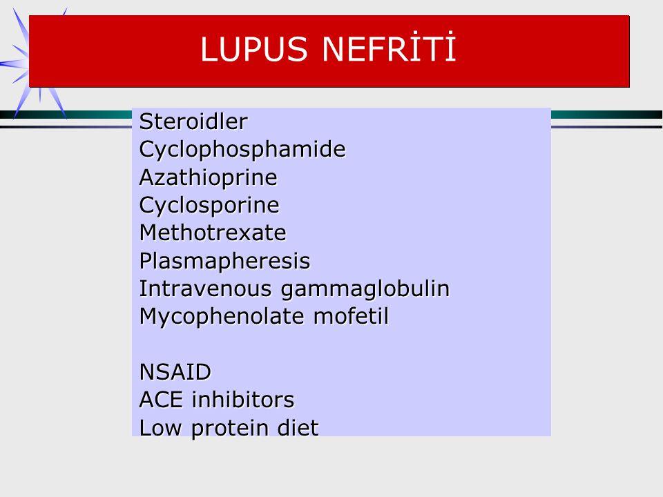 LUPUS NEFRİTİ Steroidler Cyclophosphamide Azathioprine Cyclosporine
