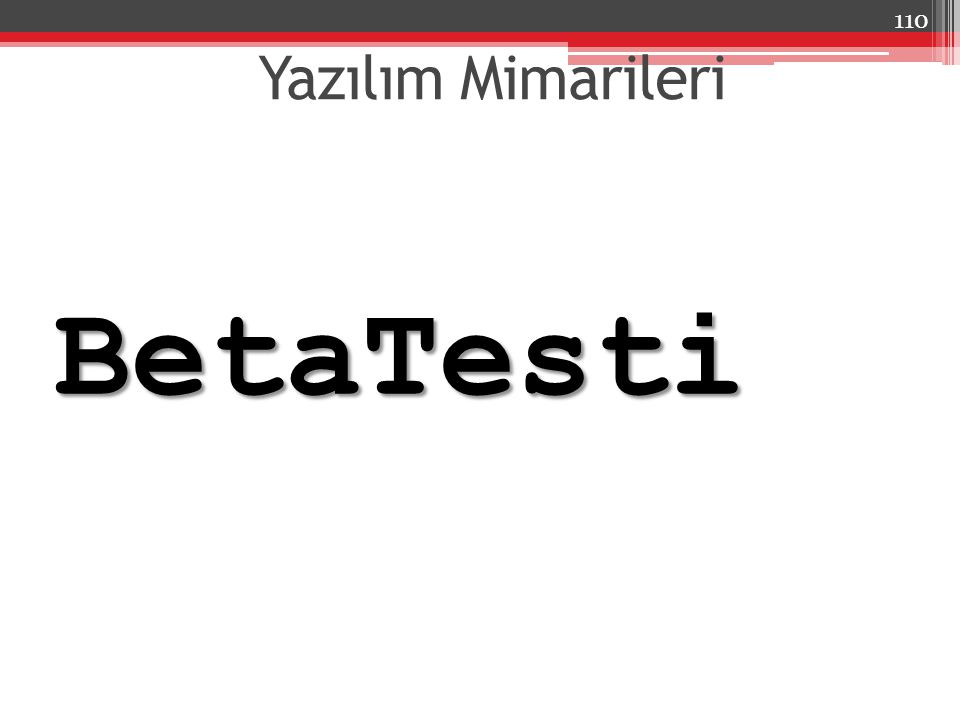 Yazılım Mimarileri BetaTesti