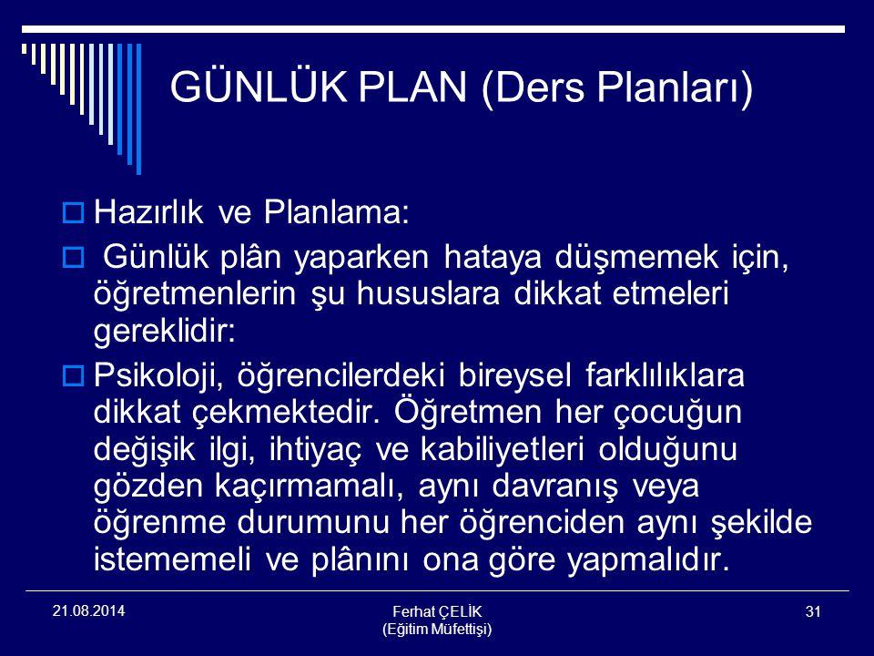 GÜNLÜK PLAN (Ders Planları)