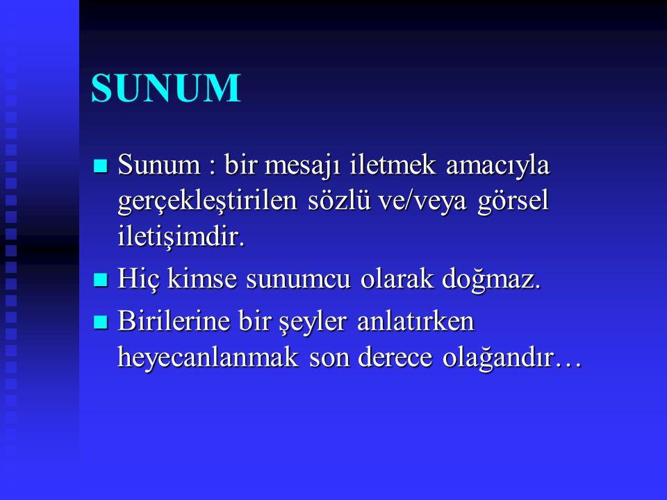 SUNUM Sunum : bir mesajı iletmek amacıyla gerçekleştirilen sözlü ve/veya görsel iletişimdir. Hiç kimse sunumcu olarak doğmaz.