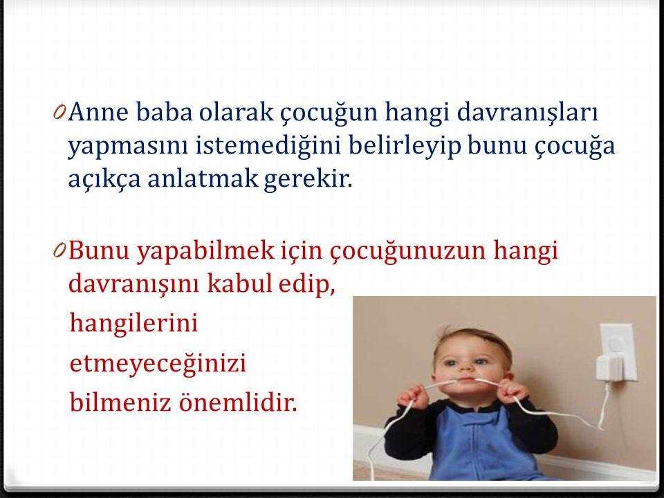 Anne baba olarak çocuğun hangi davranışları yapmasını istemediğini belirleyip bunu çocuğa açıkça anlatmak gerekir.