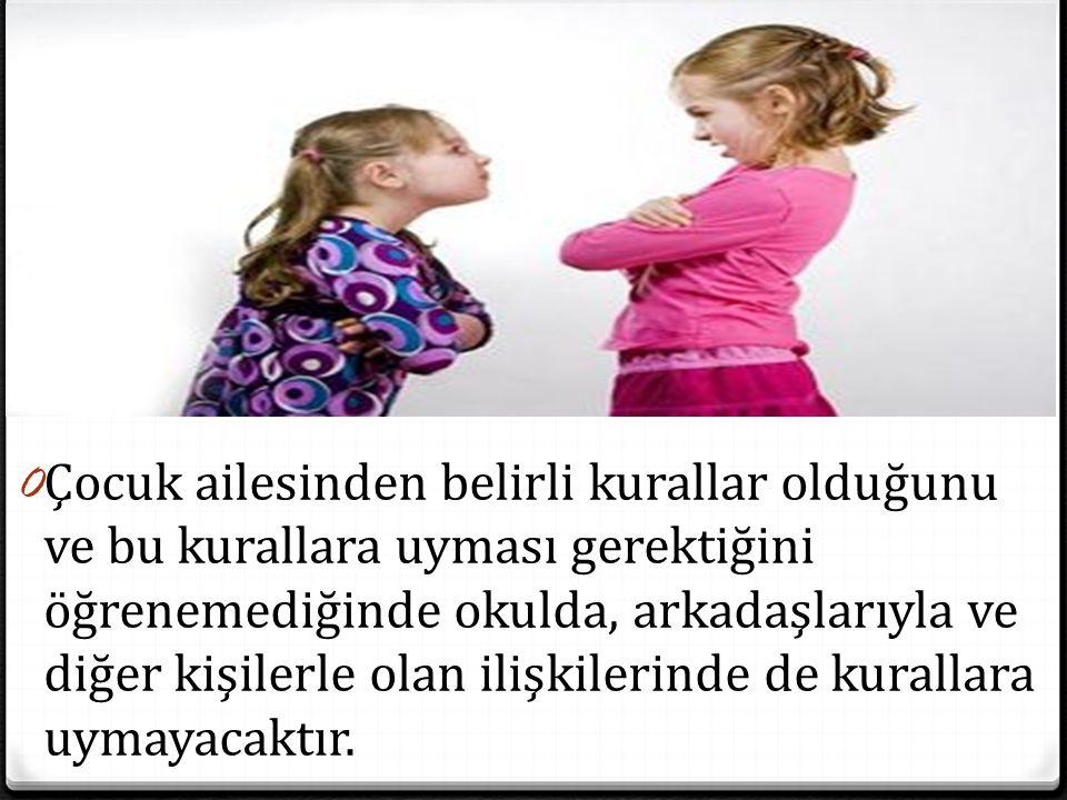 Çocuk ailesinden belirli kurallar olduğunu ve bu kurallara uyması gerektiğini öğrenemediğinde okulda, arkadaşlarıyla ve diğer kişilerle olan ilişkilerinde de kurallara uymayacaktır.
