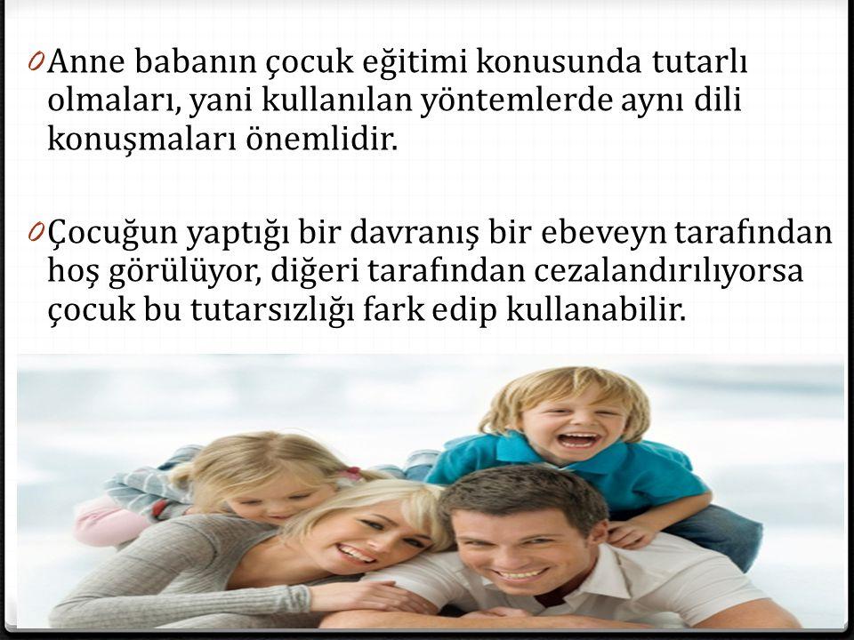 Anne babanın çocuk eğitimi konusunda tutarlı olmaları, yani kullanılan yöntemlerde aynı dili konuşmaları önemlidir.