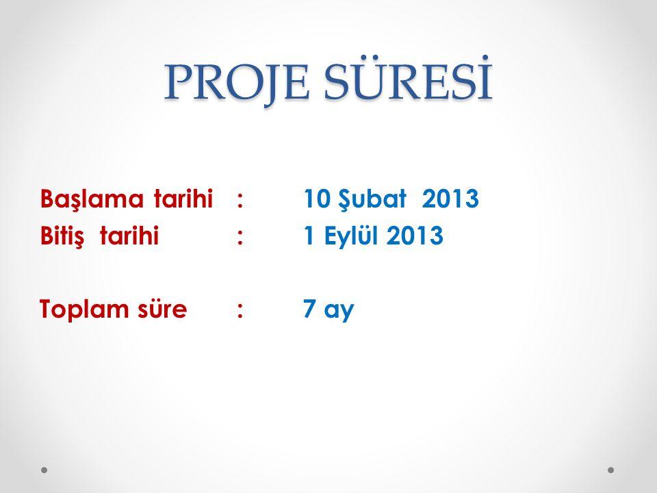 PROJE SÜRESİ Başlama tarihi : 10 Şubat 2013 Bitiş tarihi : 1 Eylül 2013 Toplam süre : 7 ay