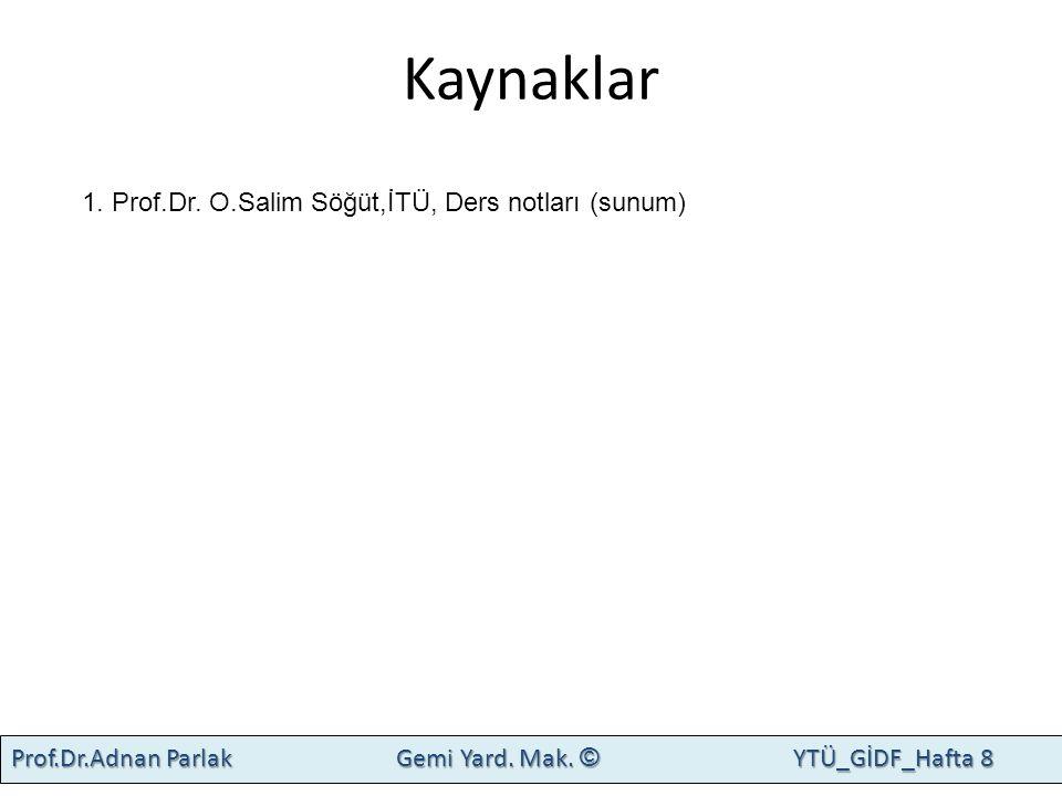 Kaynaklar 1. Prof.Dr. O.Salim Söğüt,İTÜ, Ders notları (sunum)