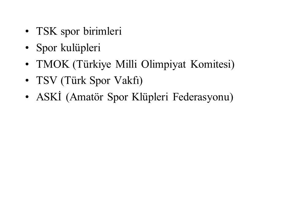 TSK spor birimleri Spor kulüpleri.