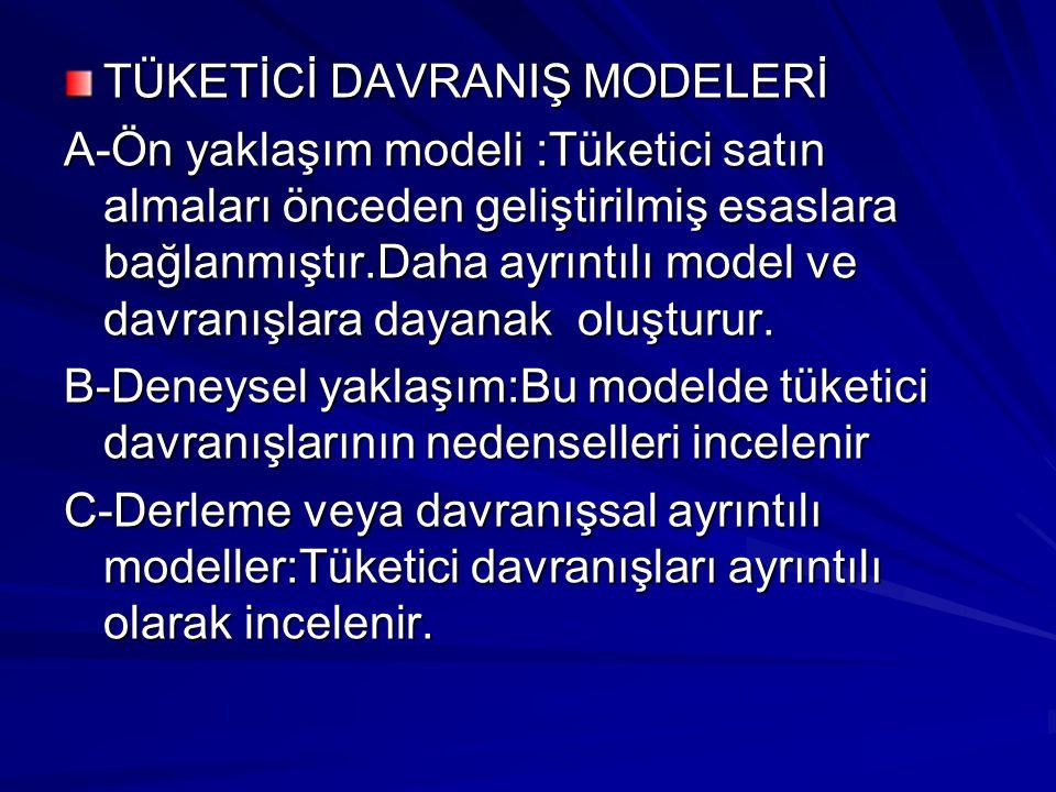 TÜKETİCİ DAVRANIŞ MODELERİ
