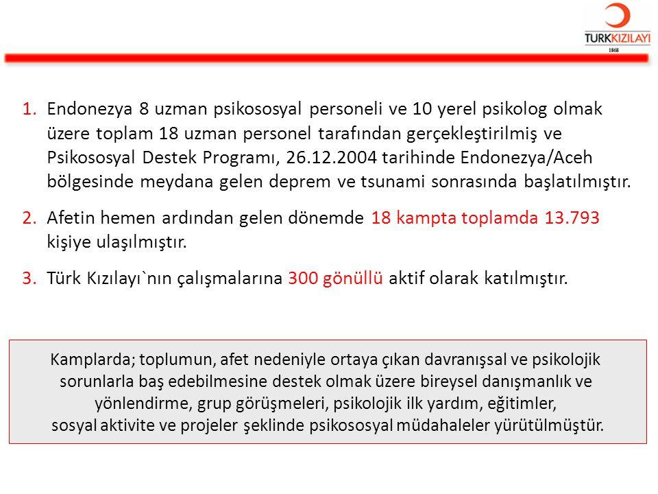 Türk Kızılayı`nın çalışmalarına 300 gönüllü aktif olarak katılmıştır.
