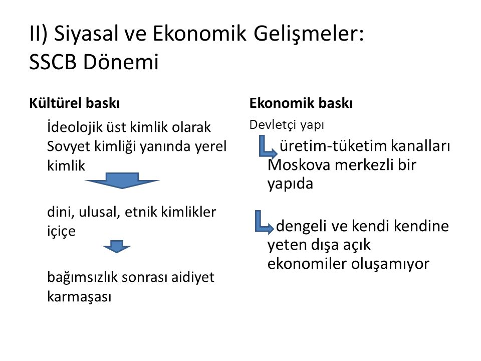 II) Siyasal ve Ekonomik Gelişmeler: SSCB Dönemi
