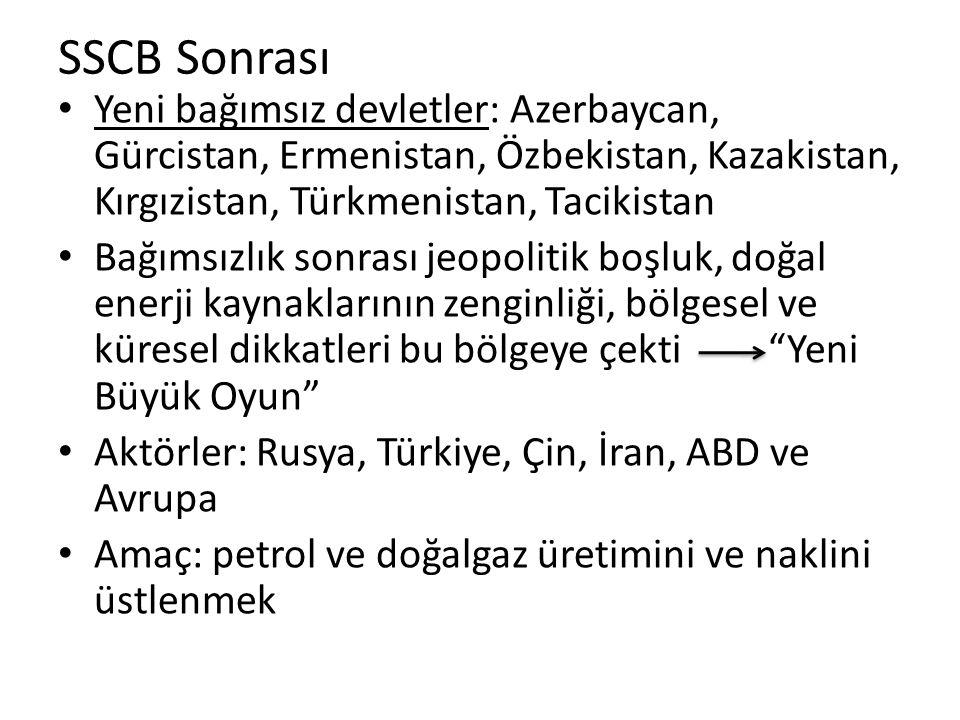 SSCB Sonrası Yeni bağımsız devletler: Azerbaycan, Gürcistan, Ermenistan, Özbekistan, Kazakistan, Kırgızistan, Türkmenistan, Tacikistan.