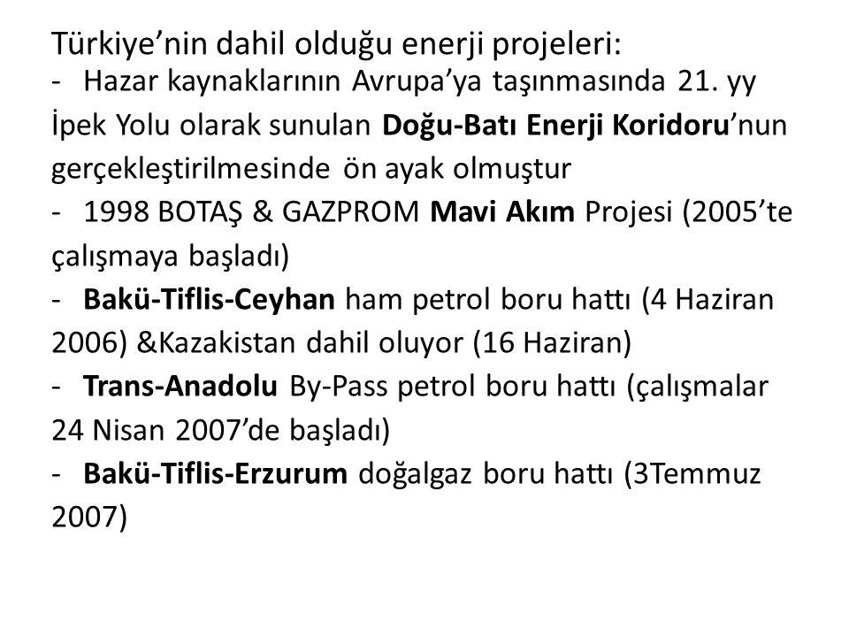 Türkiye'nin dahil olduğu enerji projeleri: