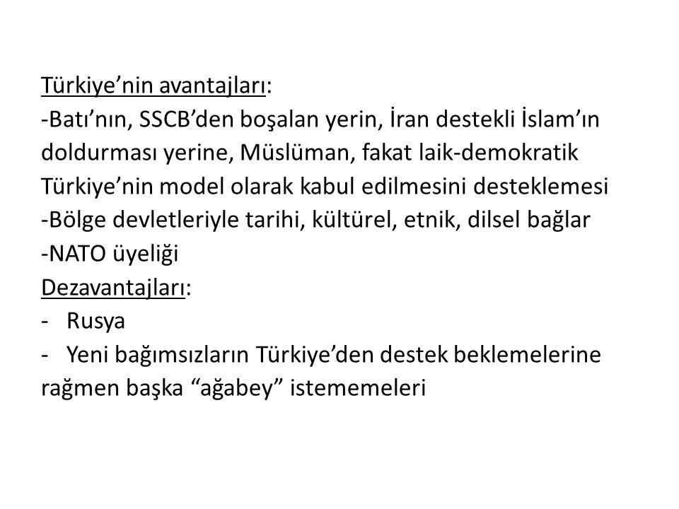 Türkiye'nin avantajları: