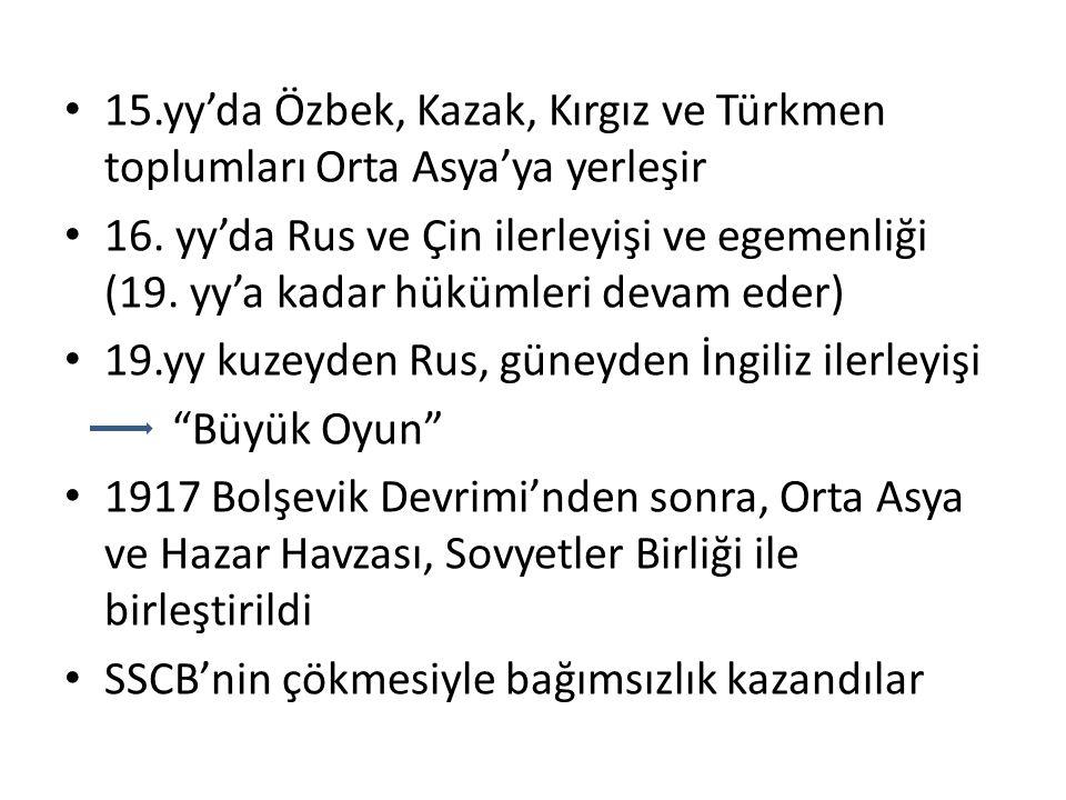 15.yy'da Özbek, Kazak, Kırgız ve Türkmen toplumları Orta Asya'ya yerleşir