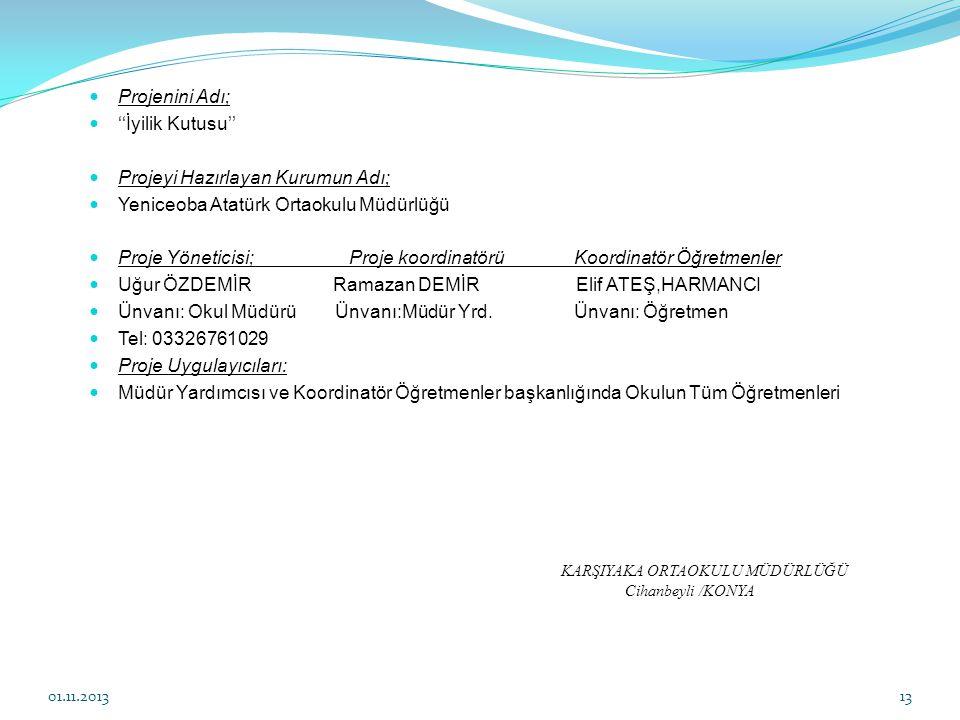 Projeyi Hazırlayan Kurumun Adı; Yeniceoba Atatürk Ortaokulu Müdürlüğü