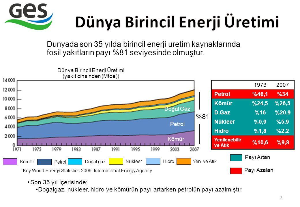 Dünya Birincil Enerji Üretimi (yakıt cinsinden (Mtoe))