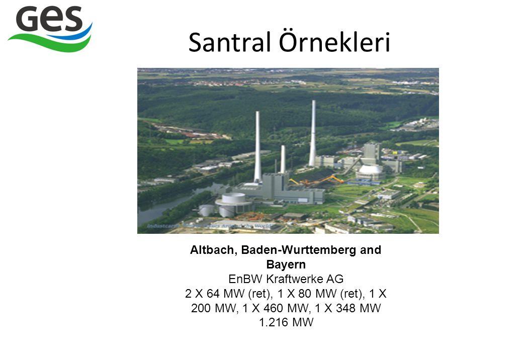 Santral Örnekleri Altbach, Baden-Wurttemberg and Bayern EnBW Kraftwerke AG 2 X 64 MW (ret), 1 X 80 MW (ret), 1 X 200 MW, 1 X 460 MW, 1 X 348 MW.