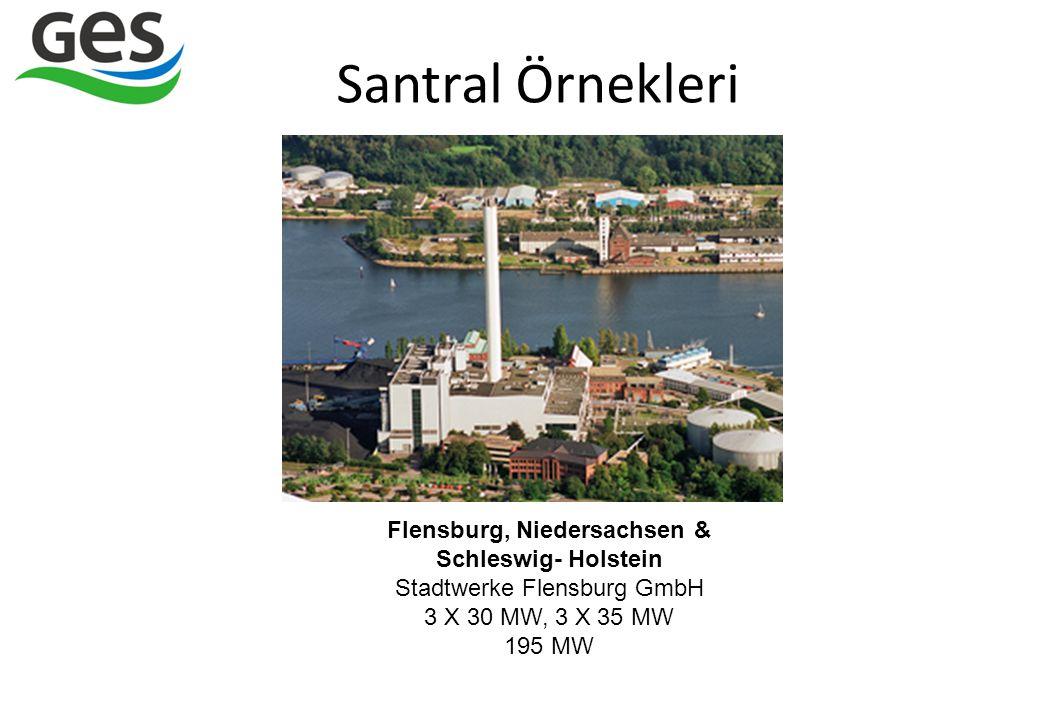 Santral Örnekleri Flensburg, Niedersachsen & Schleswig- Holstein Stadtwerke Flensburg GmbH 3 X 30 MW, 3 X 35 MW.