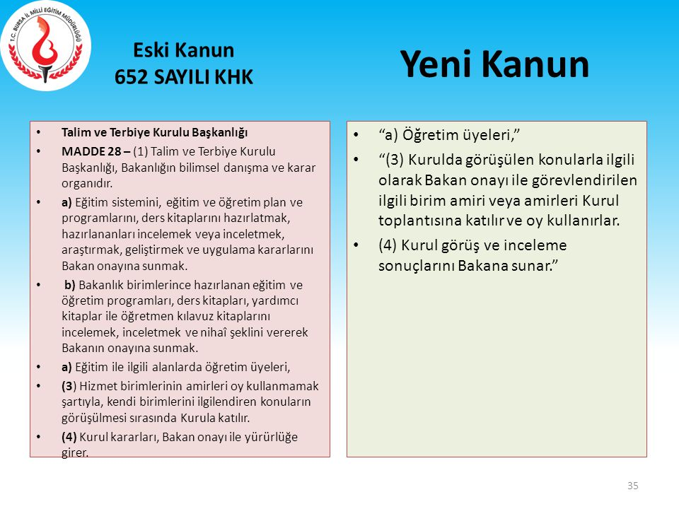 Yeni Kanun Eski Kanun 652 SAYILI KHK a) Öğretim üyeleri,