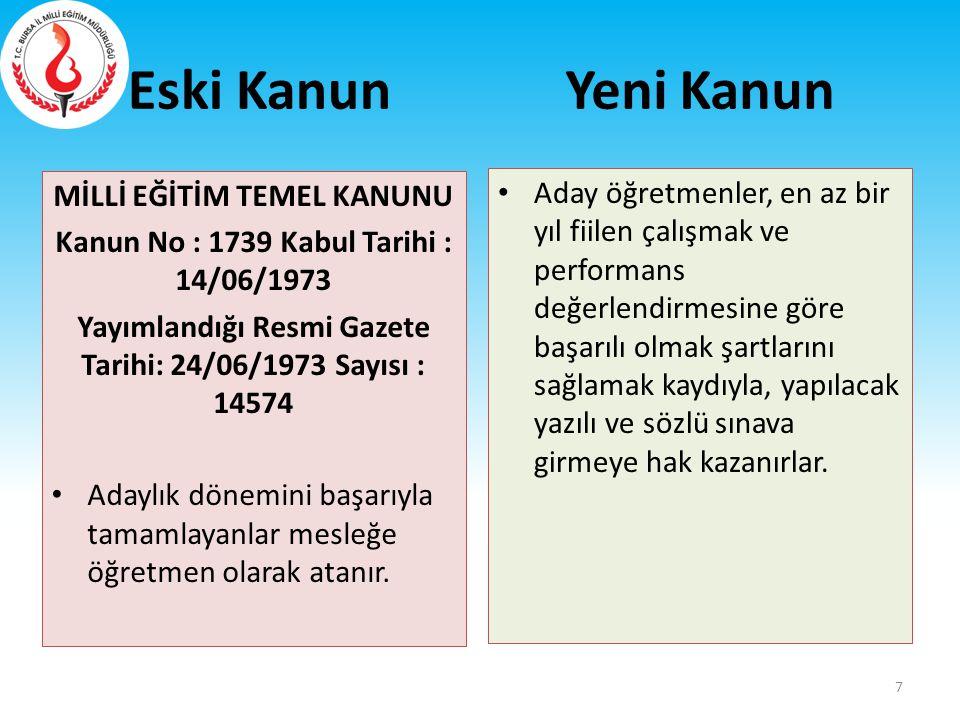 MİLLİ EĞİTİM TEMEL KANUNU Kanun No : 1739 Kabul Tarihi : 14/06/1973