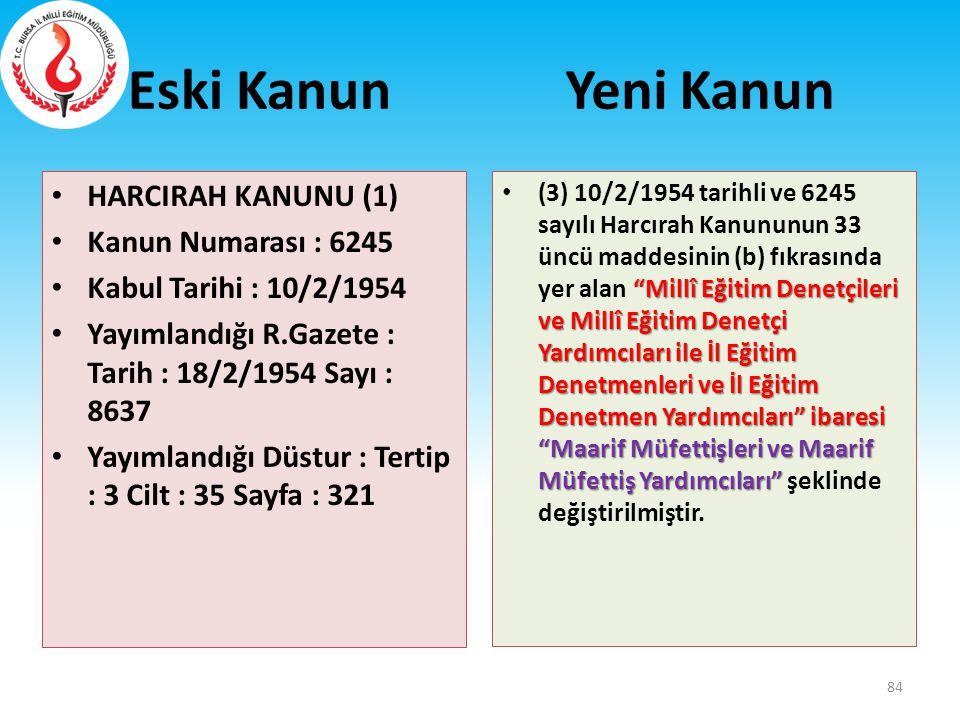 Eski Kanun Yeni Kanun HARCIRAH KANUNU (1) Kanun Numarası : 6245