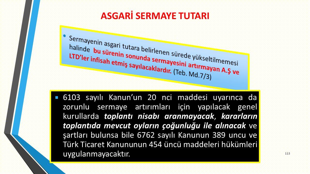 ASGARİ SERMAYE TUTARI