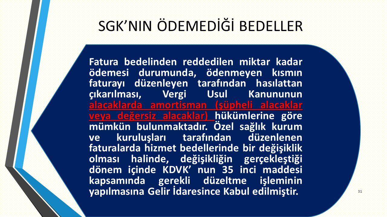 SGK'NIN ÖDEMEDİĞİ BEDELLER