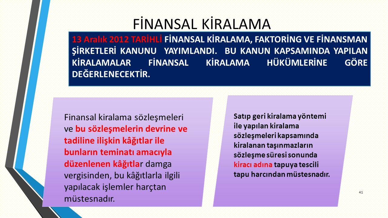 FİNANSAL KİRALAMA