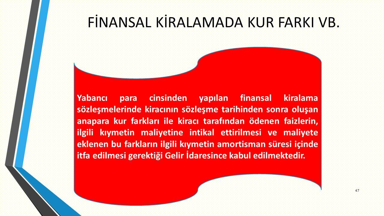 FİNANSAL KİRALAMADA KUR FARKI VB.