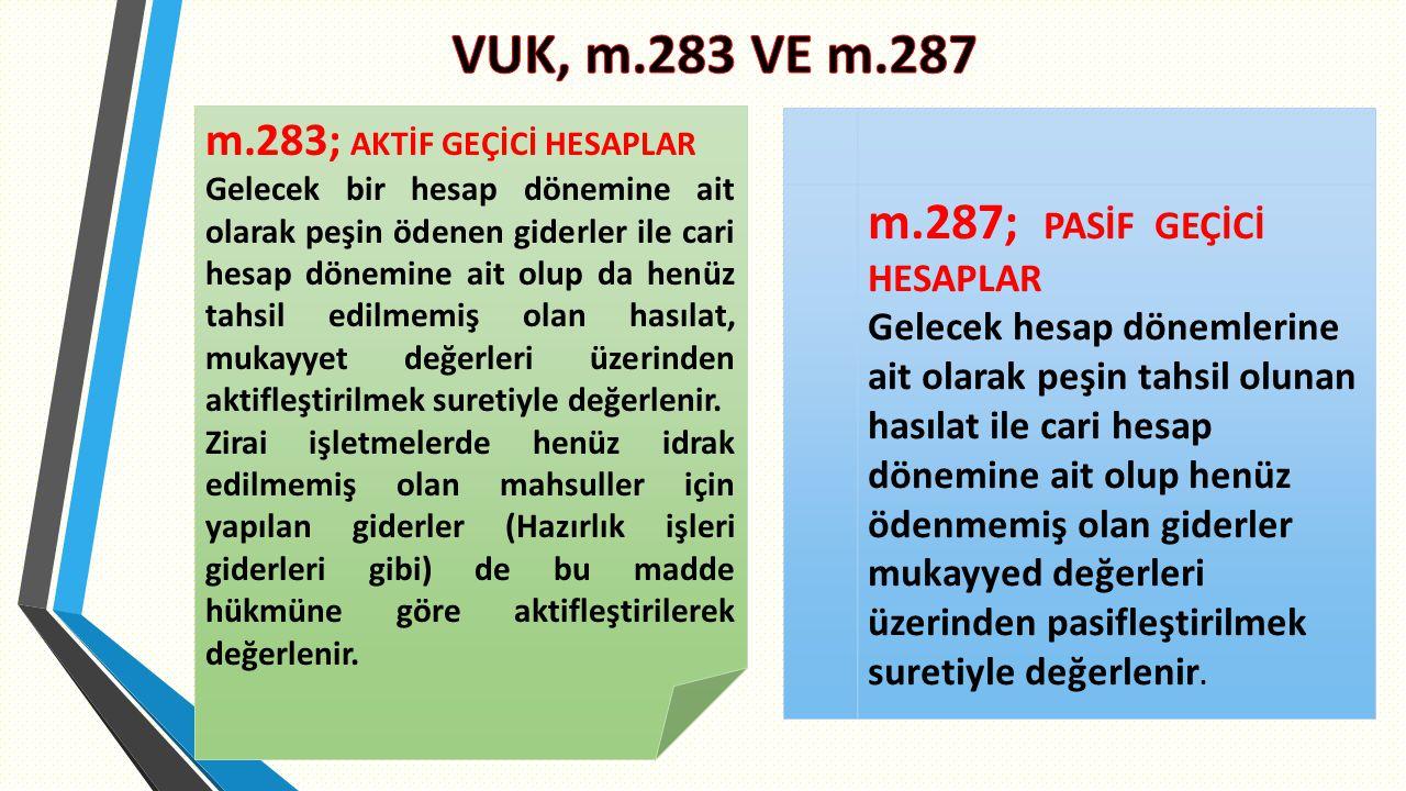 VUK, m.283 VE m.287 m.287; PASİF GEÇİCİ HESAPLAR