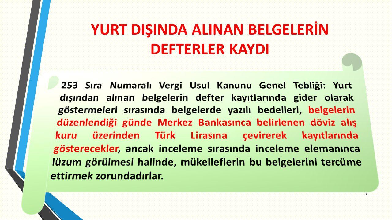 YURT DIŞINDA ALINAN BELGELERİN DEFTERLER KAYDI