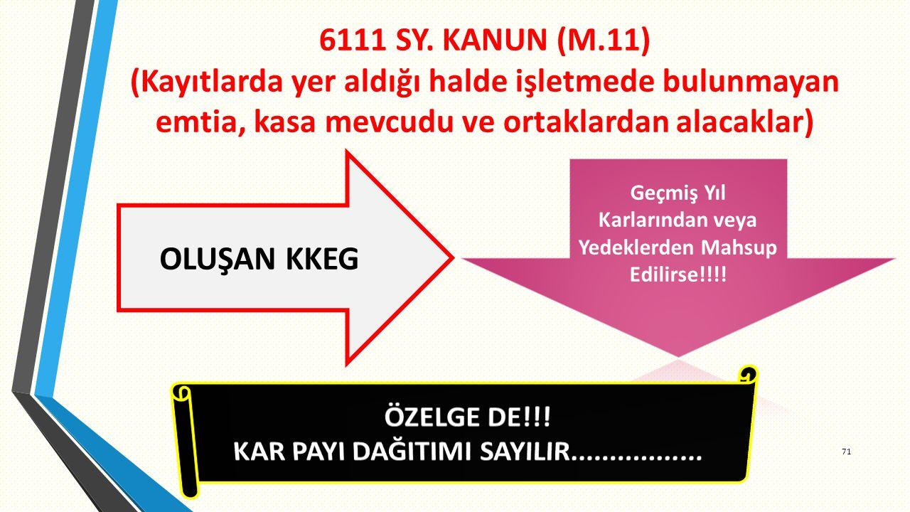 6111 SY. KANUN (M.11) (Kayıtlarda yer aldığı halde işletmede bulunmayan emtia, kasa mevcudu ve ortaklardan alacaklar)