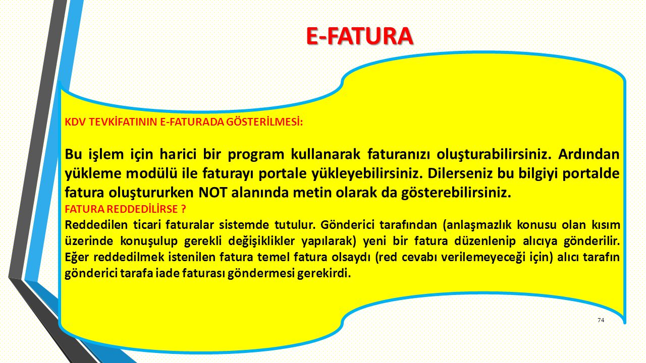 E-FATURA KDV TEVKİFATININ E-FATURADA GÖSTERİLMESİ: